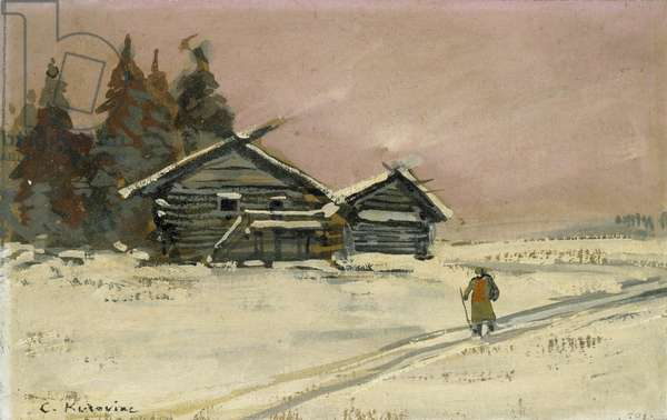 Winter Landscape with two wooden Huts (bodycolour and oil on board, mounted as a drawing)