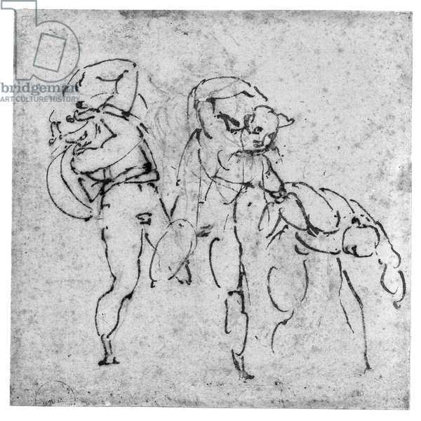 Study of Three Figures, c.1517-20 (pen and brown ink over leadpoint on off-white paper)