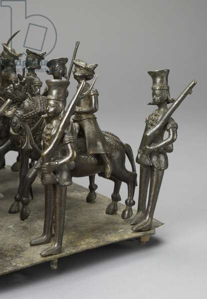 The cavalcade of the King of Oudh riding with the British Resident on elephants, c.1820 (bronze) (detail of 119069)
