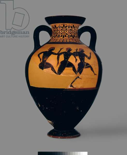 Attic black-figure amphora depicting a foot race, c.520-500 BC (pottery) (for reverse see also: 100570)