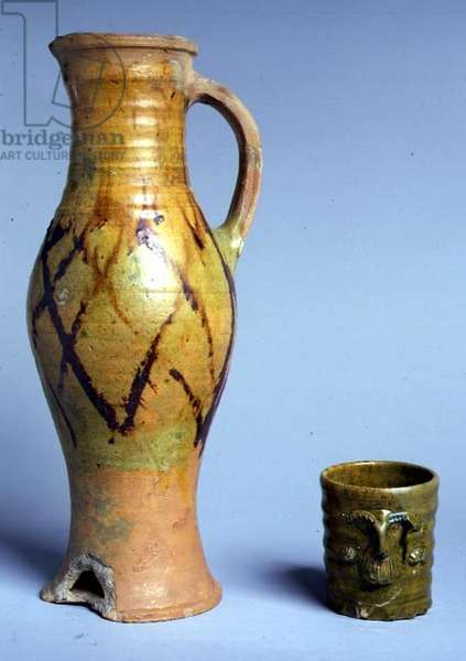 Baluster Jug and Beaker, given by T. E. Lawrence, 16th century (glazed earthenware)