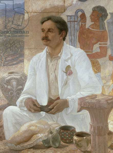 Sir Arthur Evans among the Ruins of the Palace of Knossos, 1907 (oil on canvas)