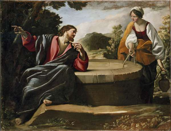 Christ and the Woman of Sarnaca, 17th century (oil on canvas)