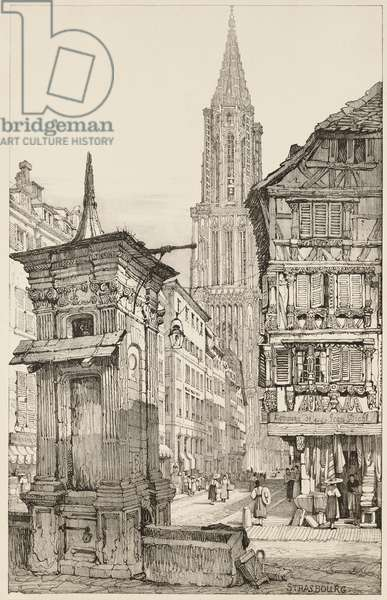 The Rue Mercière and west Front of Strasbourg Cathedral, 1833 (litho on Chine collé)