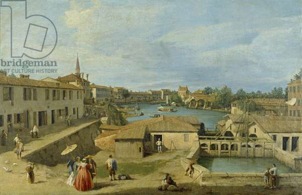 A View of Dolo on the Brenta Canal, c.1725-29 (oil on canvas)