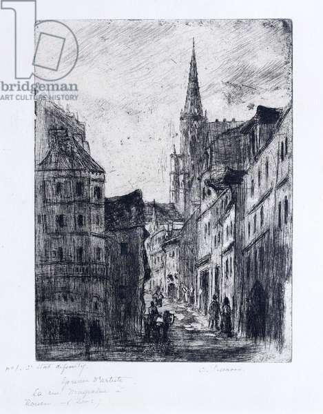 La Rue Malpalue a Rouen, c.1885 (litho)