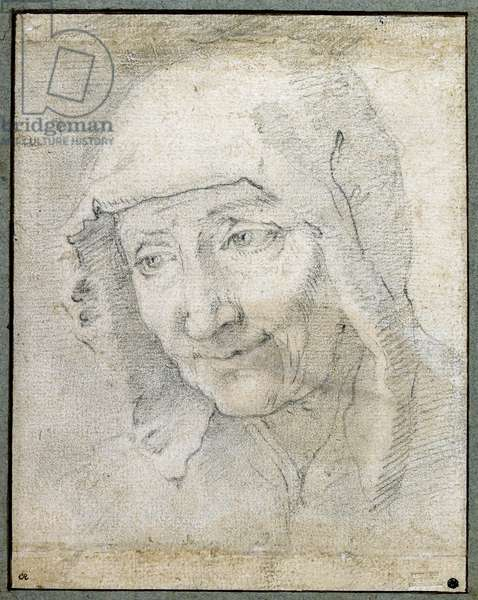 Head of an old Woman (black chalk on paper)