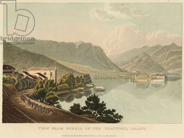 View from Stresa of the Beautiful Island (Isola Bella, Lago Maggiore), before 1820 (w/c over etching and aquatint on wove paper)