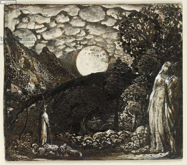 Shepherds under a Full Moon, c.1829-30 (pen and brown ink with brush in Indian ink, heightened with bodycolour on white card)