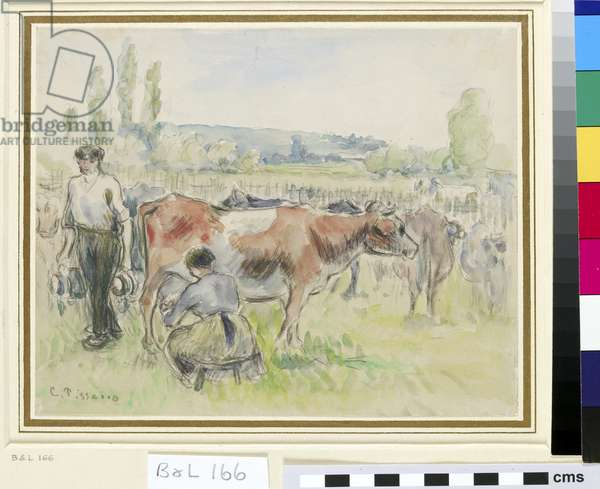 Compositional study of a milking scene at Eragny-sur-Epte (w/c over black chalk on paper)