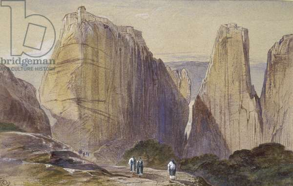 The Monastery of Meteora (watercolour and bodycolour on grey-blue laid paper)