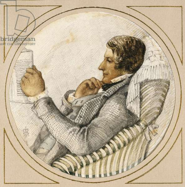 Portrait of Ford Madox Brown (watercolour over graphite with pen and blue ink on off-white paper)