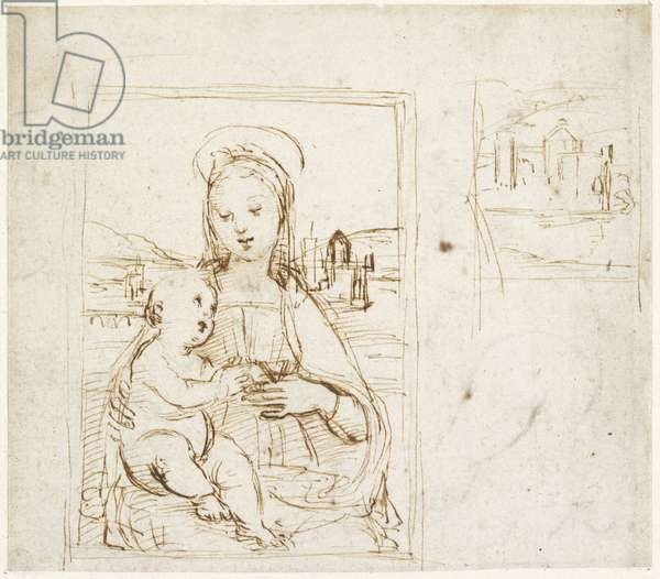 Recto: Study for the Virgin and Child with a book (Virgin of Pasadena), WA1846.152a (pen & brown ink over blind stylus)