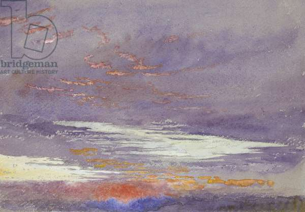 Study of Dawn: purple Clouds, March 1868 (watercolour and bodycolour over faint graphite lines on blue-grey paper)
