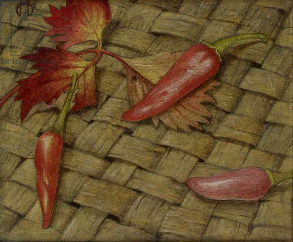Chillies (tempera on board)