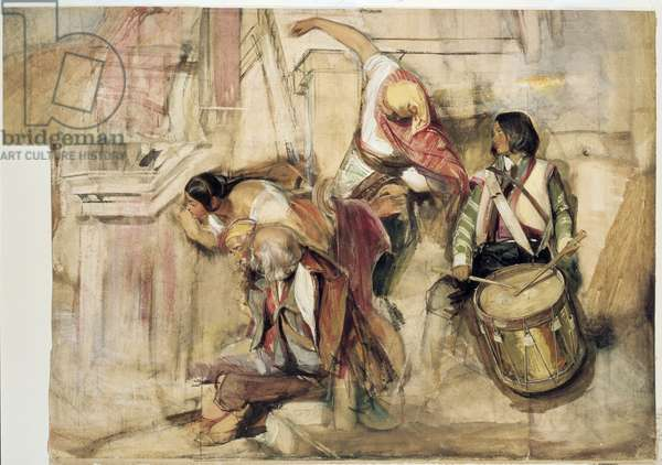 """Study for the """"Proclamation of Don Carlos"""" (watercolour and bodycolour over graphite, on paper with two sheets added)"""