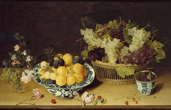 Still Life of Fruit and Flowers (oil on panel)