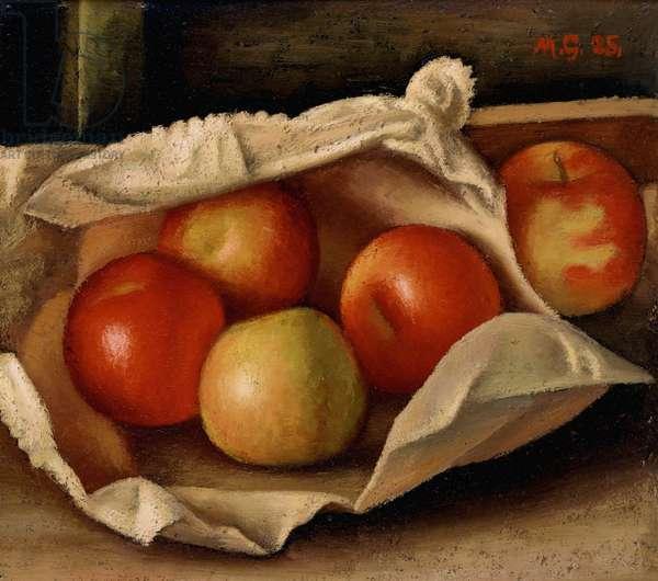 Apples in a Bag, 1925 (oil on cardboard)