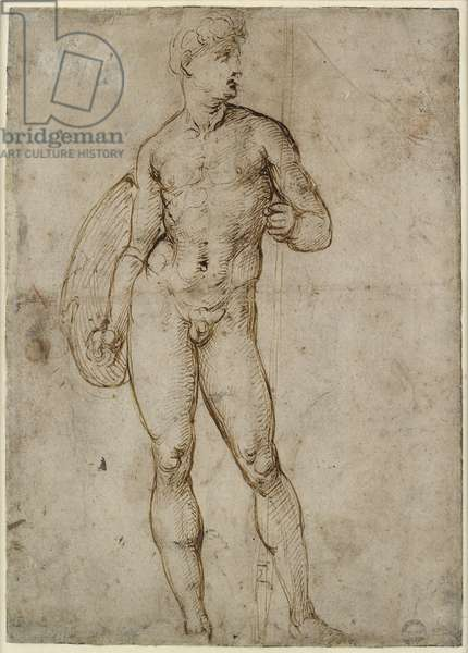 Recto: A Youthful Warrior, WA1846.163 (pen & brown ink, some possibly unrelated blind stylus marks)
