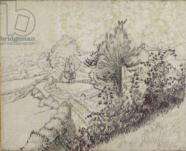 View of Leintwardine, 1932 (black chalk and oil wash on canvas laid on board)