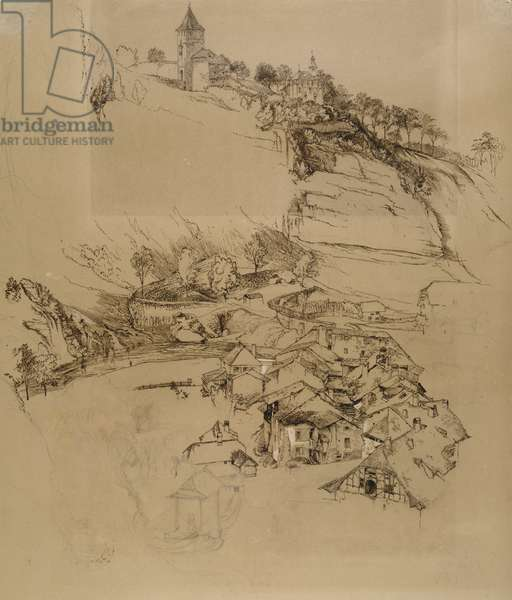 Fribourg, Switzerland: Pen sketch, July or August - September 1856 (pen and graphite with white bodycolour on brown wove paper)