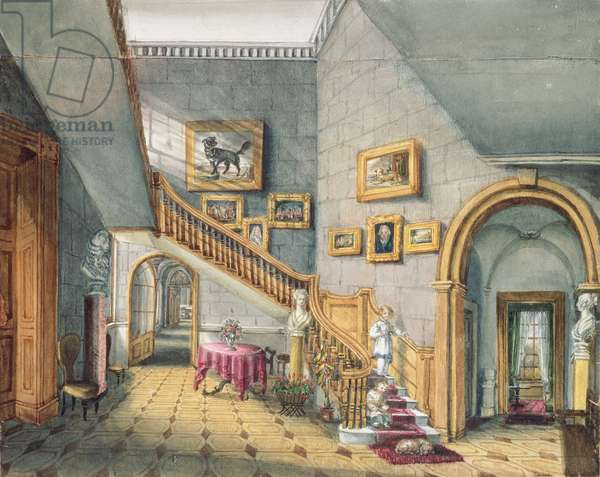 The Staircase, Strood Park, f26 from An Album of Interiors, 1843 (w/c on paper)