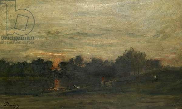 Landscape: Sunset (oil on panel)