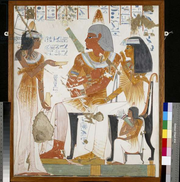 Copy of wall painting, private tomb 181 of Nebamun and Ipuky, Thebes, deceased, mother and daughter offered wine by lady (paint)