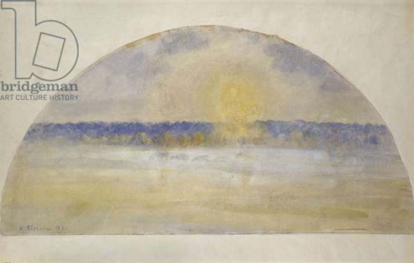Sunset with mist, Eragny, 1890 (oil on canvas)