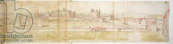 Hampton Court Palace from the North, c.1544 (pen, ink and w/c on paper)