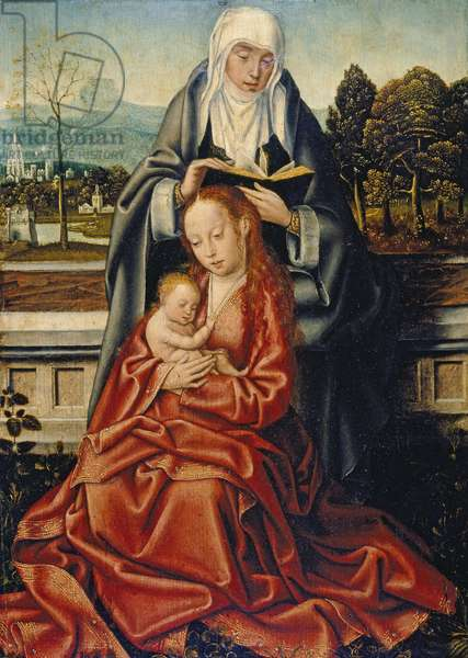 The Virgin and Child with St Anne (oil on oak panel)