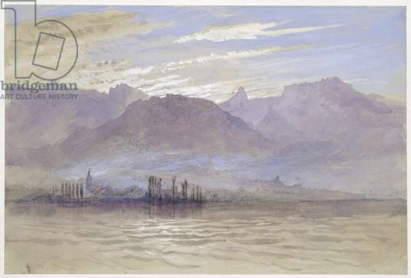 Morning in Spring, with north-east Wind, at Vevey, May - June 1849 or 1 May 1869 (watercolour and bodycolour over graphite on pale grey wove paper)