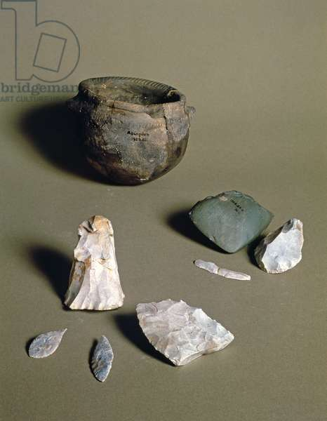 Pottery, axes and arrowheads, from a Neolithic Camp in Abingdon, Berkshire, probably 6000-4000 BC (pottery and stone)