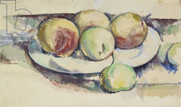 Still Life of Peaches and Figs, 19th century (w/c on paper)