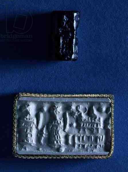 Cylinder seal and impression, Cappadocian, 1900-1750 BC (black steatite)