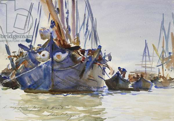 Italian sailing Vessels at Anchor (watercolour over indications in graphite on rough paper)