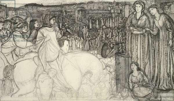 Gualdrada Donati presenting her Daughter to Buondelmente (pen and black ink with graphite on white paper)