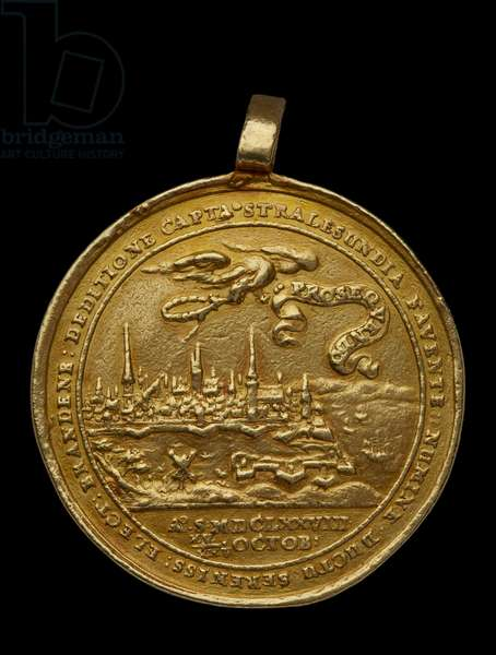 Medal awarded to Elias Ashmole - showing City view of Strahlsund; in foreground, ships; above city, eagle holding wreath, 17th century (gold)