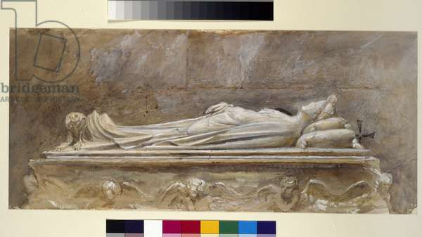 The Tomb of Ilaria del Caretto in the Duomo, Lucca, 10 August - 26 September 1874 (watercolour and bodycolour over graphite on paper, some lines ruled)