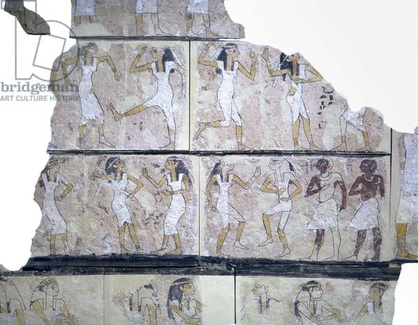 Fragment of wall painting depicting dancing girls