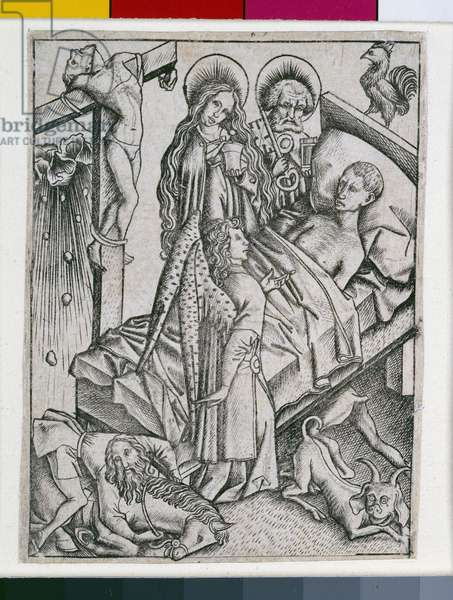 Consolation through Confidence, illustration from the 'Ars Moriendi', c.1460 (engraving)