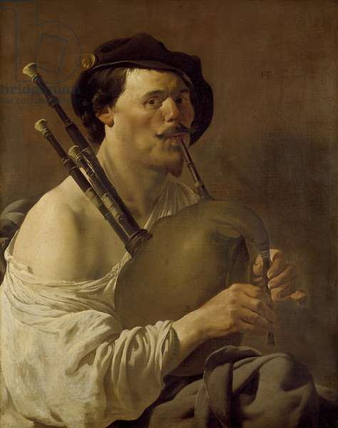 A Man Playing the Bagpipes, 17th century (oil on canvas)