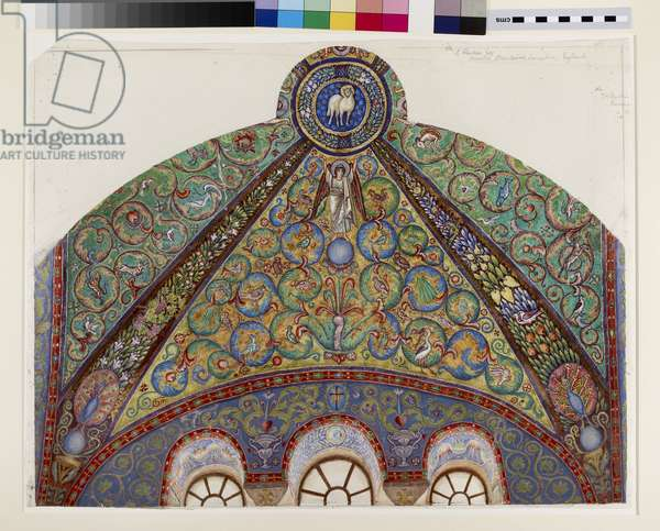 Drawing of Mosaics in the Vault of the Chancel of San Vitale, Ravenna, 1884 (watercolour, bodycolour and gold paint over graphite on wove paper)