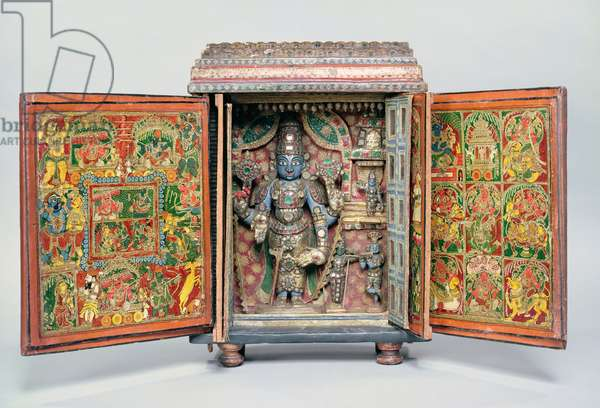 Portable shrine of Vishnu, Tirupati, South India, c.1900 (mixed media on wood)