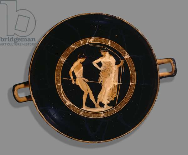 Athenian red-figure cup; depiction of boy athlete and trainer, 480 BC (ceramic)