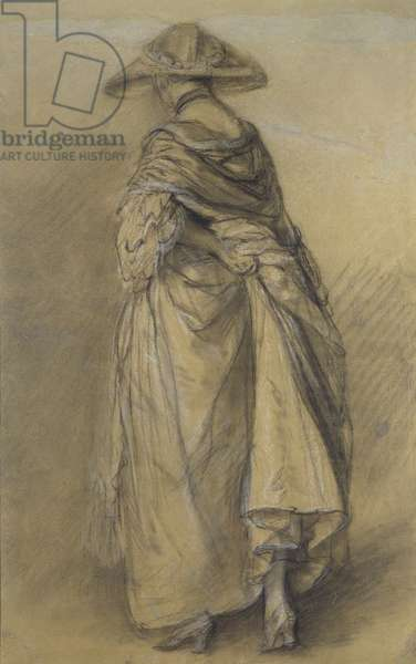 Study of a Woman, seen from the Back (black challk and stump, heightened with white on greyish brown paper)