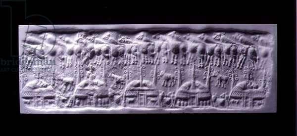 Handled cylinder seal impression, Uruk (now Warka, Iraq), c.3300-3000 BC (plaster)