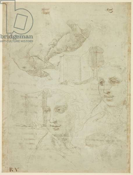 Recto: Two Heads and other Studies. Verso: Rough draft of the Sonnet 'Come non podde dir', WA1846.188 (silverpoint on a greenish-grey preparation on off-white paper, pen & brown ink)