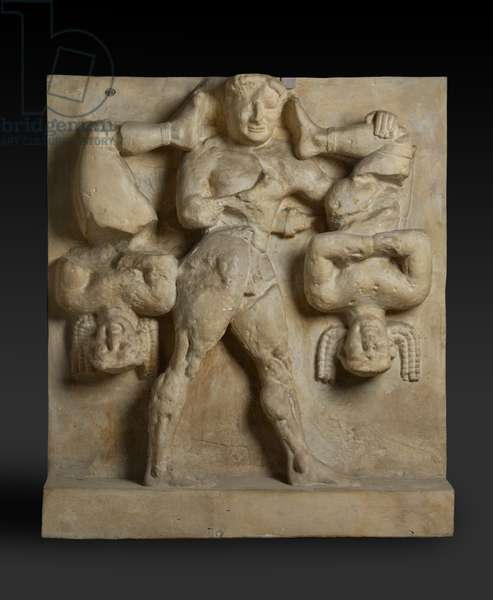 Cast of Herakles and Kerkopes, Metope from Temple C at Selinous, Selinus-Traianopolis, original dated 2nd half of the 6th century BC (plaster)