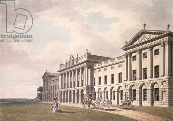 View of Heveningham Hall in Suffolk, the Seat of Sir Gerrard Vanneck, 18th century (pen & ink and w/c on paper)